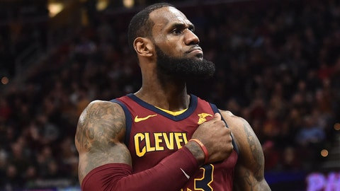 Jan 28, 2018; Cleveland, OH, USA; Cleveland Cavaliers forward LeBron James (23) reacts after a basket during the second half against the Detroit Pistons at Quicken Loans Arena. Mandatory Credit: Ken Blaze-USA TODAY Sports