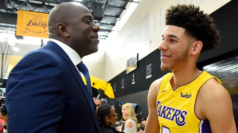 Sep 25, 2017; Los Angeles, CA, USA; Los Angeles Lakers guard Lonzo Ball (2) and President of Basketball Operations Magic Johnson shake hands during Lakers Media Day at the UCLA Health Training Center in El Segundo, CA.  Mandatory Credit: Jayne Kamin-Oncea-USA TODAY Sports