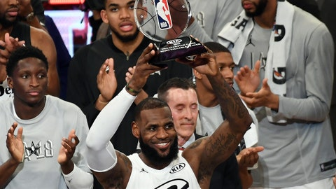 Feb 18, 2018; Los Angeles, CA, USA; Team LeBron forward LeBron James of the Cleveland Cavaliers (23) celebrates with the trophy for most valuable player after Team LeBron won the 2018 NBA All Star game against Team Stephen at Staples Center. Mandatory Credit: Richard Mackson-USA TODAY Sports
