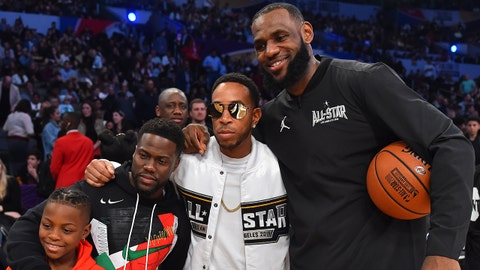 February 18, 2018; Los Angeles, CA, USA; Team LeBron forward LeBron James of the Cleveland Cavaliers (23) poses for a photo with recording artist Ludacris actor Kevin Hart and son Hendrix Hart at the 2018 NBA All Star Game at Staples Center. Mandatory Credit: Bob Donnan-USA TODAY Sports