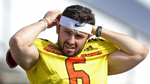 Jan 24, 2018; Mobile, AL, USA; North Squad quarterback Baker Mayfield of Oklahoma (6) during Senior bowl practice at Ladd-Peebles Stadium. Mandatory Credit: Chuck Cook-USA TODAY Sports