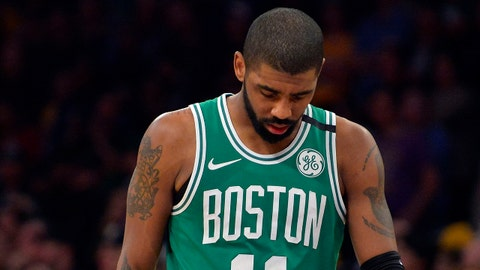 January 23, 2018; Los Angeles, CA, USA; Boston Celtics guard Kyrie Irving (11) reacts during the 108-107 loss against the Los Angeles Lakers in the second half at Staples Center. Mandatory Credit: Gary A. Vasquez-USA TODAY Sports
