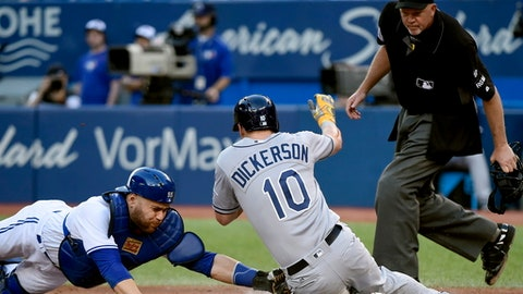 Toronto Blue Jays catcher Russell Martin (55) tags out Tampa Bay Rays designated hitter Corey Dickerson (10) at home plate during the third inning of a baseball game, Wednesday, June 14, 2017 in Toronto. (Nathan Denette/The Canadian Press via AP)
