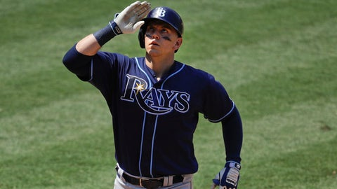 Tampa Bay Rays' Logan Morrison celebrates his two-run home run during the seventh inning of a baseball game against the Los Angeles Angels, Sunday, July 16, 2017, in Anaheim, Calif. (AP Photo/Jae C. Hong)