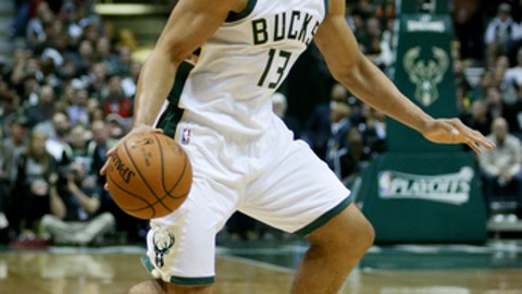 MILWAUKEE, WI - APRIL 27:  Malcolm Brogdon #13 of the Milwaukee Bucks dribbles the ball in the second quarter in Game Six of the Eastern Conference Quarterfinals against the Toronto Raptors during the 2017 NBA Playoffs at BMO Harris Bradley Center on April 27, 2017 in Milwaukee, Wisconsin. (Photo by Dylan Buell/Getty Images)