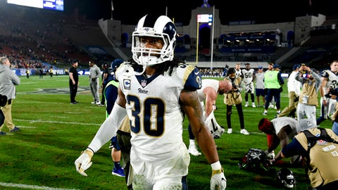 Los Angeles Rams running back Todd Gurley walks off the field after the Atlanta Falcons won the NFL football wild-card playoff game 26-13 on Saturday, Jan. 6, 2018, in Los Angeles. (AP Photo/Kelvin Kuo)
