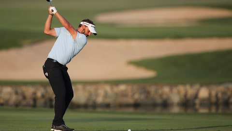Joost Luiten of the Netherlands plays a shot on the 18th hole during the first round of the Abu Dhabi Championship golf tournament in Abu Dhabi, United Arab Emirates, Thursday, Jan. 18, 2018. (AP Photo/Kamran Jebreili)