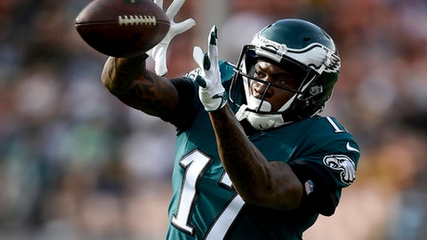 FILE - In this Dec. 10, 2017, file photo, Philadelphia Eagles wide receiver Alshon Jeffery warms up before an NFL football game against the Los Angeles Rams in Los Angeles. The Eagles and the New England Patriots are set to meet in Super Bowl 52 on Sunday, Feb. 4, 2018, in Minneapolis. (AP Photo/Kelvin Kuo, File)