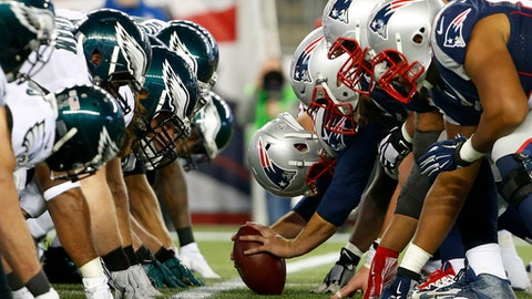 FILE - In this Dec. 6, 2015, file photo, the New England Patriots, right, and the Philadelphia Eagle get set for the snap at the line of scrimmage during an NFL football game at Gillette Stadium in Foxborough, Mass.  The two teams are set to meet in Super Bowl 52 on Sunday, Feb. 4, 2018, in Minneapolis. (Winslow Townson/AP Images for Panini via AP, File)