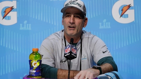 Philadelphia Eagles offensive coordinator Frank Reich talks during NFL football Super Bowl 52 Opening Night Monday, Jan. 29, 2018, at the Xcel Center in St. Paul, Minn. (AP Photo/Matt Slocum)