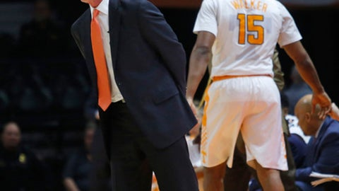Tennessee coach Rick Barnes yells to his players during the first half of an NCAA college basketball game against LSU on Wednesday, Jan. 31, 2018, in Knoxville, Tenn. (AP Photo/Crystal LoGiudice)