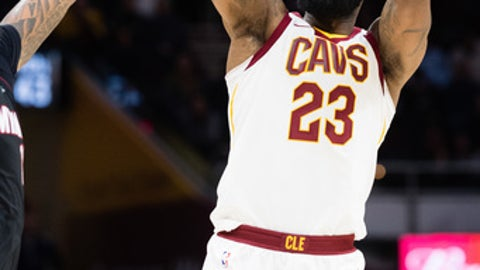 CLEVELAND, OH - JANUARY 31: LeBron James #23 of the Cleveland Cavaliers shoots against during the second half against the Miami Heat at Quicken Loans Arena on January 31, 2018 in Cleveland, Ohio. The Cavaliers defeated the Heat 91-89. (Photo by Jason Miller/Getty Images)