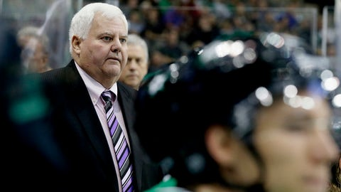 FILE - In this Tuesday, Sept. 26, 2017 file photo, Dallas Stars head coach Ken Hitchcock looks on from the bench during the first period of a preseason NHL hockey game against the Minnesota Wild in Dallas. Dallas Stars coach Ken Hitchcock drew some attention when he questioned why NHL teams are so secretive about player injuries. Don't expect any changes. The league and many players and coaches are reluctant to reveal specifics.(AP Photo/LM Otero, File)