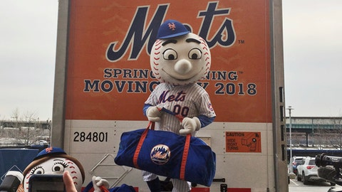 New York Mets mascot Mr. Met poses on the loading ramp of the team's equipment truck at Citi Field, Thursday, Feb. 1, 2018, in New York, as the truck was packed to leave for spring training. (AP Photo/Ron Blum)