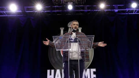 Justin Timberlake answers questions during a news conference for the NFL Super Bowl 52 football game halftime show Thursday, Feb. 1, 2018, in Minneapolis. (AP Photo/Matt Slocum)