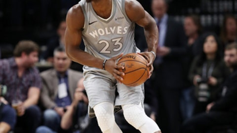 MINNEAPOLIS, MN - FEBRUARY 1: Jimmy Butler #23 of the Minnesota Timberwolves handles the ball against the Milwaukee Bucks on February 1, 2018 at Target Center in Minneapolis, Minnesota. NOTE TO USER: User expressly acknowledges and agrees that, by downloading and or using this Photograph, user is consenting to the terms and conditions of the Getty Images License Agreement. Mandatory Copyright Notice: Copyright 2018 NBAE (Photo by Jordan Johnson/NBAE via Getty Images)