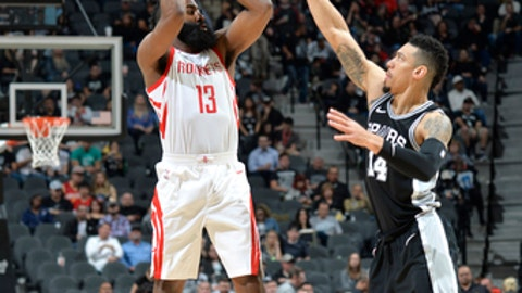 SAN ANTONIO, TX - FEBRUARY 1:  James Harden #13 of the Houston Rockets shoots the ball against Danny Green #14 of the San Antonio Spurs on February 1, 2018 at the AT&T Center in San Antonio, Texas. NOTE TO USER: User expressly acknowledges and agrees that, by downloading and or using this photograph, user is consenting to the terms and conditions of the Getty Images License Agreement. Mandatory Copyright Notice: Copyright 2018 NBAE (Photos by Mark Sobhani/NBAE via Getty Images)