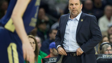 FILE - In this Dec. 30, 2017, file photo, Notre Dame head coach Mike Brey looks on during the first half of an NCAA college basketball game against Georgia Tech in South Bend, Ind. Brey's Fighting Irish have lost six straight while playing an extended period without injured star Bonzie Colson. (AP Photo/Robert Franklin, File)