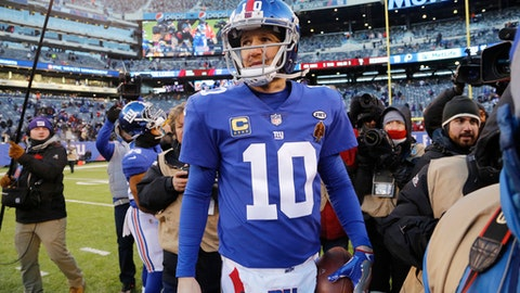 FILE - In this Dec. 31, 2017, file photo, New York Giants quarterback Eli Manning (10) walks off the field after an NFL football game against the Washington Redskins in East Rutherford, N.J. After coming off the worst season of his professional career, Manning is looking ahead. (AP Photo/Mark Lennihan, File)