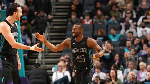 CHARLOTTE, NC - FEBRUARY 2:  Kemba Walker #15 of the Charlotte Hornets high fives Frank Kaminsky #44 of the Charlotte Hornets against the Indiana Pacers on February 2, 2018 at Spectrum Center in Charlotte, North Carolina. (Photo by Kent Smith/NBAE via Getty Images)