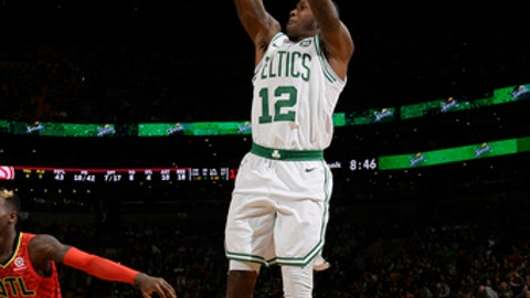 BOSTON, MA - FEBRUARY 2: Terry Rozier #12 of the Boston Celtics shoots the ball during the game against the Atlanta Hawks on February 2, 2018 at the TD Garden in Boston, Massachusetts. (Photo by Brian Babineau/NBAE via Getty Images)