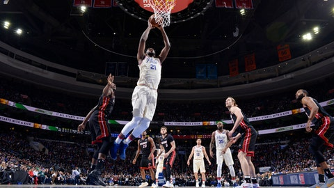 PHILADELPHIA, PA - FEBRUARY  2: Joel Embiid #21 of the Philadelphia 76ers shoots the ball during the game against the Miami Heat on February 2, 2018 in Philadelphia, Pennsylvania (Photo by Jesse D. Garrabrant/NBAE via Getty Images)