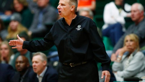 FILE - In this Dec. 28, 2016, file photo, Colorado State head coach Larry Eustachy directs his team against UNLV in the second half of an NCAA college basketball game in Fort Collins, Colo. On Saturday, Feb. 3, 2018, school officials announced that Eustachy has been placed on administrative leave as the climate of the men's basketball program is assessed. (AP Photo/David Zalubowski, File)