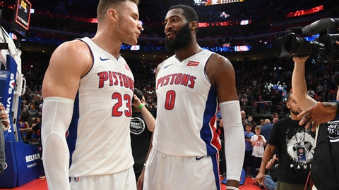 DETROIT, MI - FEBRUARY 3: Blake Griffin #23 and Andre Drummond #0 of the Detroit Pistons after the game against the Miami Heat on February 3, 2018 at Little Caesars Arena in Detroit, Michigan. (Photo by Chris Schwegler/NBAE via Getty Images)