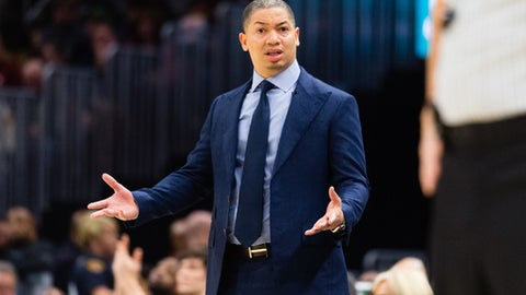 CLEVELAND, OH - FEBRUARY 3: Tyronn Lue of the Cleveland Cavaliers reacts to a foul call during the first half against the Houston Rockets at Quicken Loans Arena on February 3, 2018 in Cleveland, Ohio. (Photo by Jason Miller/Getty Images)