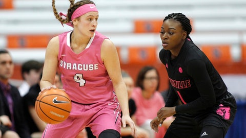 Syracuse's Tiana Mangakahia, left, tries to dribble past Louisville's Dana Evans, right, in the first quarter of an NCAA college basketball game in Syracuse, N.Y., Sunday, Feb. 4, 2018. (AP Photo/Nick Lisi)