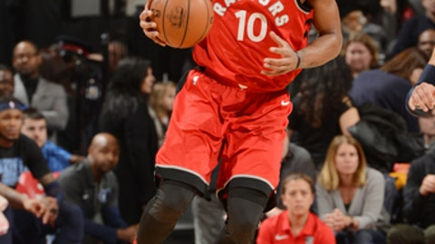 TORONTO, CANADA - FEBRUARY 4: DeMar DeRozan #10 of the Toronto Raptors handles the ball during the game against the Memphis Grizzlies on February 4, 2018 at the Air Canada Centre in Toronto, Ontario, Canada.  (Photo by Ron Turenne/NBAE via Getty Images)