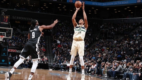 BROOKLYN, NY - FEBRUARY 4:  Giannis Antetokounmpo #34 of the Milwaukee Bucks shoots the ball against the Brooklyn Nets on February 4, 2018 at Barclays Center in Brooklyn, New York. (Photo by Nathaniel S. Butler/NBAE via Getty Images)