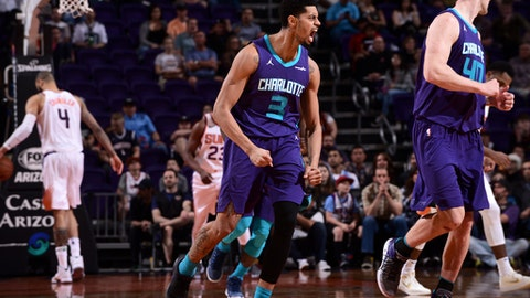 PHOENIX, AZ - FEBRUARY 4:  Jeremy Lamb #3 of the Charlotte Hornets reacts to a play during the game against the Phoenix Suns on February 4, 2018 at Talking Stick Resort Arena in Phoenix, Arizona. (Photo by Michael Gonzales/NBAE via Getty Images)