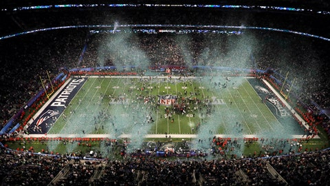The Philadelphia Eagles celebrate after the NFL Super Bowl 52 football game against the New England Patriots, Sunday, Feb. 4, 2018, in Minneapolis. The Eagles won 41-33. (AP Photo/Morry Gash)