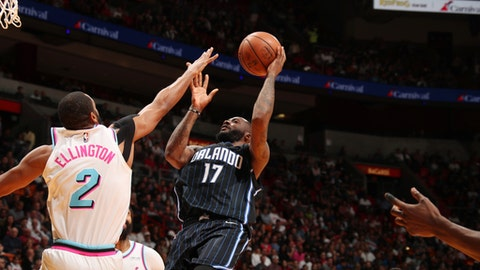 MIAMI, FL - FEBRUARY 5:   Jonathon Simmons #17 of the Orlando Magic shoots the ball against the Miami Heat on February 5, 2018 at American Airlines Arena in Miami, Florida. (Photo by Issac Baldizon/NBAE via Getty Images)