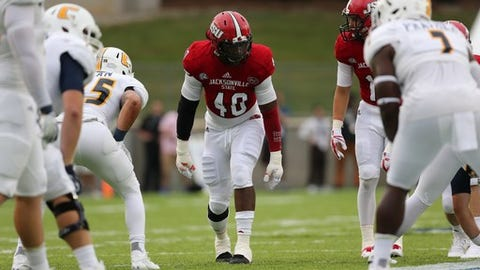 <p>(STATS) - An FCS-high three Jacksonville State players were among 20 from the subdivision to receive combine invites, which were announced by the NFL on Tuesday.</p><p>The annual pre-draft event will be held Feb. 27-March 5 at Lucas Oil Stadium in Indianapolis.  All 32 NFL teams will take an up-close-and-personal look at 335 players as they go through measurements and medical examinations, psychological testing, interviews and on-field workouts.</p><p>The three Gamecocks headed to the combine are 2017 STATS FCS Buck Buchanan Award winner Darius Jackson, who will transition to outside linebacker from his college position, defensive end; running back Roc Thomas; and safety Siran Neal.</p><p>Richmond quarterback Kyle Lauletta, the most outstanding player at the Senior Bowl, earned an invitation, as did South Dakota State tight end Dallas Goedert, whom many draft analysts project will be the first FCS player taken in the draft.</p><p>The combine is staggered into positional groups over four-day intervals, wrapping up with the much-dissected on-field workouts. This year's workout dates: running backs, offensive linemen, kickers and special teamers on March 2; quarterbacks, wide receivers and tight ends on March 3; defensive linemen and linebackers on March 4; and defensive backs on March 5.</p><p>---=</p><p>FCS players invited to 2018 NFL combine</p><p>Quarterback: Kyle Lauletta, Richmond</p><p>Running back: Chase Edmonds, Fordham; Roc Thomas, Jacksonville State</p><p>Tight end: Dallas Goedert, South Dakota State</p><p>Wide receiver: Jake Wieneke, South Dakota State</p><p>Offensive guard: Jamil Demby, Maine; Skyler Phillips, Idaho State</p><p>Offensive tackle: Brandon Parker, North Carolina A&T; Timon Parris, Stony Brook; Greg Senat, Wagner</p><p>Defensive end: John Franklin-Myers, Stephen F. Austin</p><p>Defensive tackle: Bilal Nichols, Delaware</p><p>Linebacker: Nick DeLuca, North Dakota State; Darius Jackson, Jacksonville State; Darius Leonard, South Carolina State</p><p>Cornerback: Davontae Harris, Illinois State; Danny Johnson, Southern; Taron Johnson, Weber State; D'Montre Wade, Murray State</p><p>Safety: Siran Neal, Jacksonville State</p>
