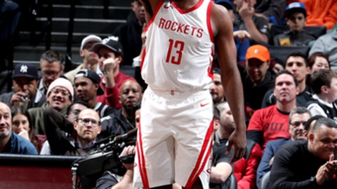 BROOKLYN, NY - FEBRUARY 6:  James Harden #13 of the Houston Rockets addresses the crowd during the game against the Brooklyn Nets on February 6, 2018 at Barclays Center in Brooklyn, New York. (Photo by Nathaniel S. Butler/NBAE via Getty Images)
