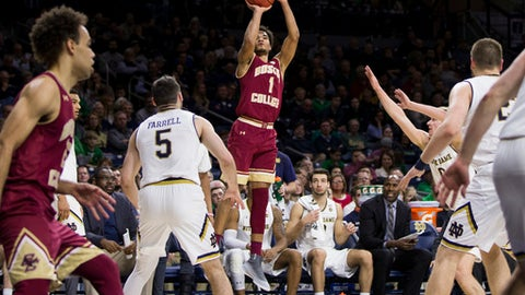 Boston College's Jerome Robinson (1) shoots a 3-pointer during the first half of an NCAA college basketball game against Notre Dame on Tuesday, Feb. 6, 2018, in South Bend, Ind. Notre Dame won 96-85. (AP Photo/Robert Franklin)