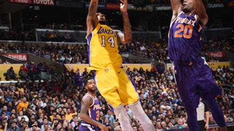 LOS ANGELES, CA - FEBRUARY 6:  Brandon Ingram #14 of the Los Angeles Lakers handles the ball against the Phoenix Suns on February 6, 2018 at STAPLES Center in Los Angeles, California. (Photo by Andrew D. Bernstein/NBAE via Getty Images)