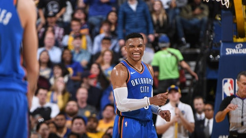 OAKLAND, CA - FEBRUARY 6:  Russell Westbrook #0 of the Oklahoma City Thunder reacts during the game against the Golden State Warriors on February 6, 2018 at ORACLE Arena in Oakland, California. (Photo by Garrett Ellwood/NBAE via Getty Images)