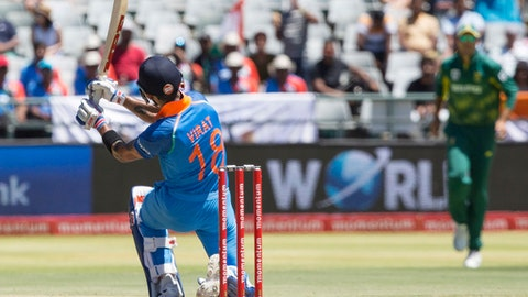 Indian batsman Virat Kohli in action during a One Day International match between South Africa and India at Newlands Stadium, in Cape Town, South Africa, Wednesday, Feb 7, 2018. (AP Photo/Halden Krog)