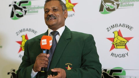 Former South Africa rugby coach Peter De Villiers addresses a press conference in Harare, Wednesday, Feb, 7, 2018. Peter de Villiers took charge of the Zimbabwe team on Wednesday, his first high-profile job since an eventful time with the Springboks. (AP Photo/Tsvangirayi Mukwazhi)