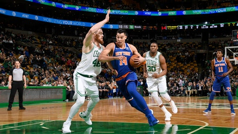 BOSTON, MA - JANUARY 31:  Willy Hernangomez #14 of the New York Knicks handles the ball against the Boston Celtics on January 31, 2018 at the TD Garden in Boston, Massachusetts. (Photo by Brian Babineau/NBAE via Getty Images)