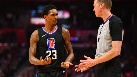 LOS ANGELES, CA - FEBRUARY 05: Los Angeles Clippers Guard Lou Williams (23) argues with an official during an NBA game between the Dallas Mavericks and the Los Angeles Clippers on February 5, 2018 at STAPLES Center in Los Angeles, CA. (Photo by Brian Rothmuller/Icon Sportswire via Getty Images)