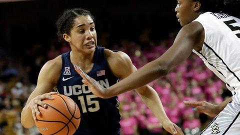 Connecticut forward Gabby Williams (15) looks to move past Central Florida forward Masseny Kaba during the first half of an NCAA college basketball game, Wednesday, Feb. 7, 2018, in Orlando, Fla. (AP Photo/John Raoux)