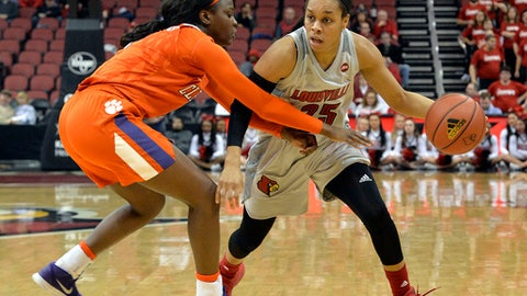 Louisville guard Asia Durr (25) drives against Clemson guard Destiny Thomas during the second half of an NCAA college basketball game Wednesday, Feb. 7, 2018, in Louisville, Ky. Louisville won 65-46. (AP Photo/Timothy D. Easley)