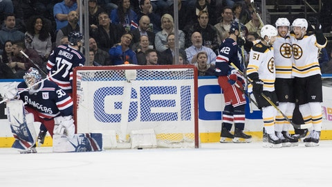 New York Rangers goaltender Henrik Lundqvist (30) gets up as Boston Bruins center Tim Schaller, second from right, celebrates his goal during the second period of an NHL hockey game Wednesday, Feb. 7, 2018, at Madison Square Garden in New York. (AP Photo/Mary Altaffer)