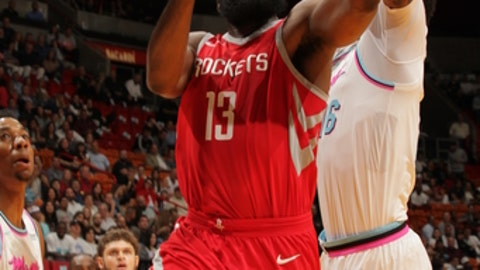 MIAMI, FL - FEBRUARY 7:  James Harden #13 of the Houston Rockets goes for a lay up against the Miami Heat on February 7, 2018 at American Airlines Arena in Miami, Florida. (Photo by Oscar Baldizon/NBAE via Getty Images)