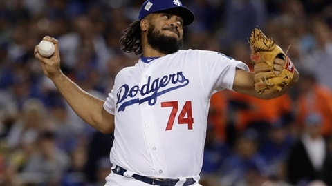 FILE - In this Nov. 1, 2017, file photo, Los Angeles Dodgers' Kenley Jansen throws during the seventh inning of Game 7 of baseball's World Series against the Houston Astros in Los Angeles. Jansen remains one of the best closers in the game. (AP Photo/Matt Slocum, File)