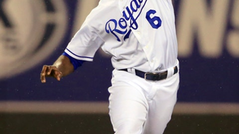 FILE - In this Sept. 26, 2017, file photo, Kansas City Royals center fielder Lorenzo Cain makes a catch during a baseball game against the Detroit Tigers at Kauffman Stadium in Kansas City, Mo.  The slick-fielding Cain and Christian Yelich improve the outfield defense, which should help the pitching staff. (AP Photo/Orlin Wagner, File)